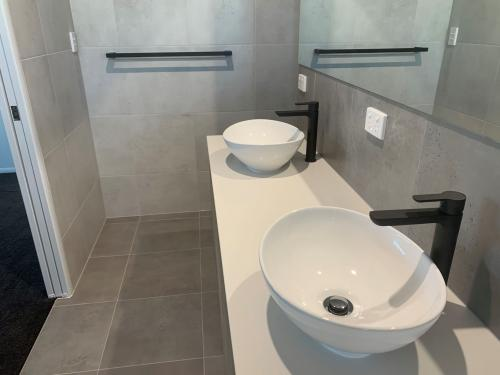 Double Vanity with Black fittings